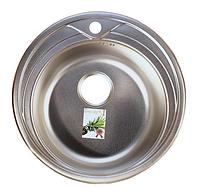 Круглая кухонная мойка Fabiano Ф48 (0,6 мм.) нержавеющая сталь, микродекор
