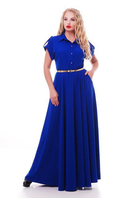 Роскошное платье макси в пол Алена электрик (48-54)