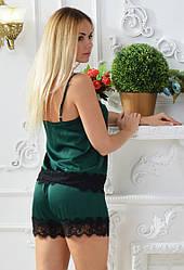 Атласная пижама женскаяс шортами комплектженский с кружевом шелковый
