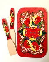 Подарок красивый и оригинальный Набор Доска 33*20 см + 2 лопатки ручной работы дерево бук разделочный петриков