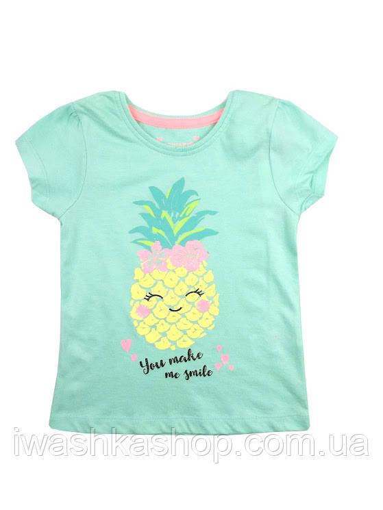 Мятная футболка с ананасом для девочки, Primark р.122
