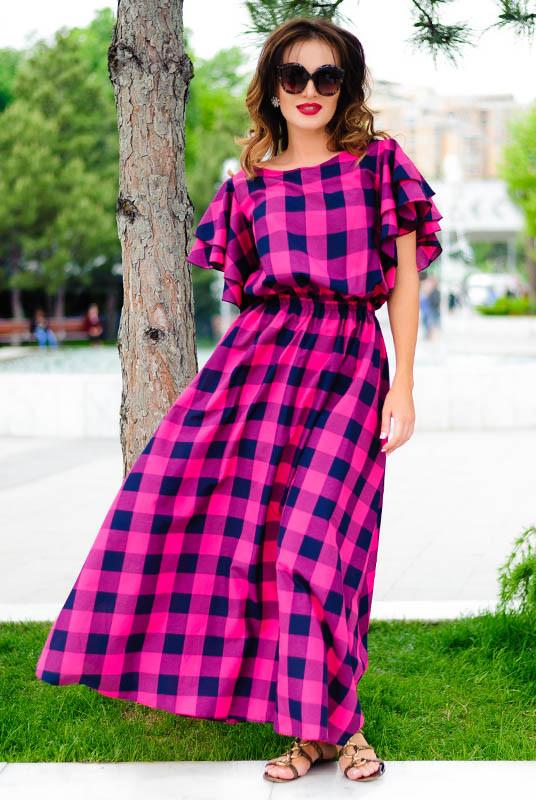 Летнее длинное платье *Шерлиз*  розовое