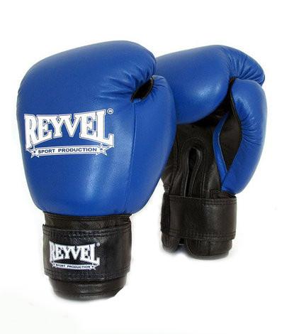 Перчатки боксерские кожанные Reyvel синие 14oz