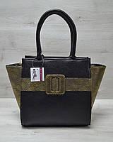Молодежная женская комбинированная сумка. Черный цвет с золотым ремнем