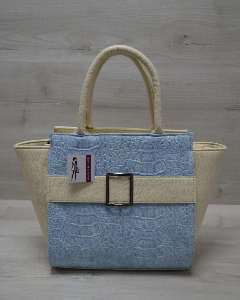 5ce5ffc7c67b Молодежная женская сумка. В бежевом цвете с голубой вставкой - Первый  Украинский в Одессе