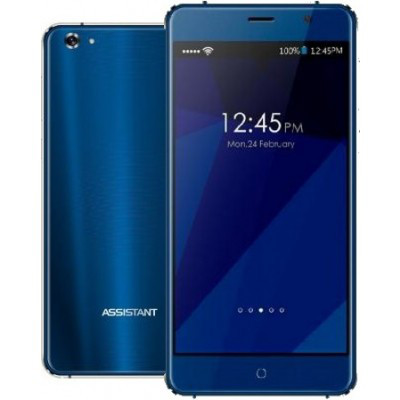"Смартфон Assistant AS 5435 Shine 1/16Gb Blue, 8/5Мп, 5"" IPS, 2000mAh, 2sim, MT6580, 4 ядра, 3G, Чехол, 12 мес."
