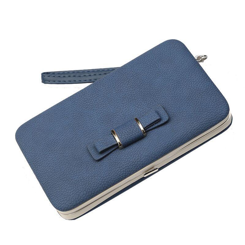 Женский кошелек BAELLERRY Pidanlu Style кожаное портмоне на кнопке Синий (SUN0990)