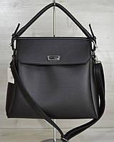 Женская сумка на три отделения. Черный цвет, серебристая фурнитура