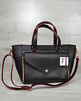 Женская сумка - клатч 2 в 1. Черный цвет с красной окантовкой