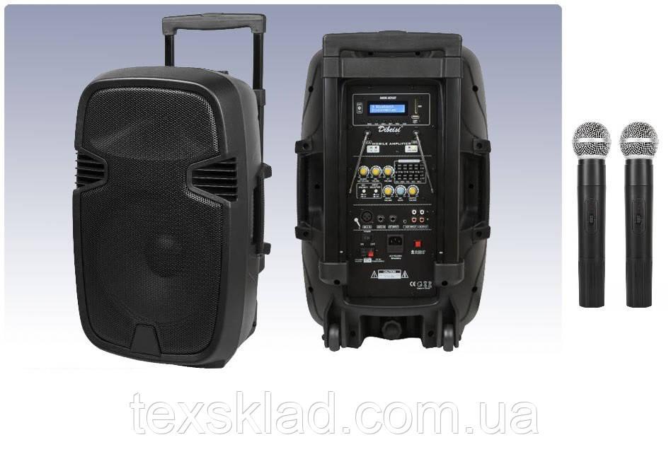Акумуляторная колонка MiK-1012 з двома радіомікрофонами 150W (FM/USB/Bluetooth)/відео огляд