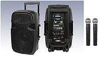 Акумуляторная колонка MiK-1012 з двома радіомікрофонами 150W (FM/USB/Bluetooth)/відео огляд, фото 1