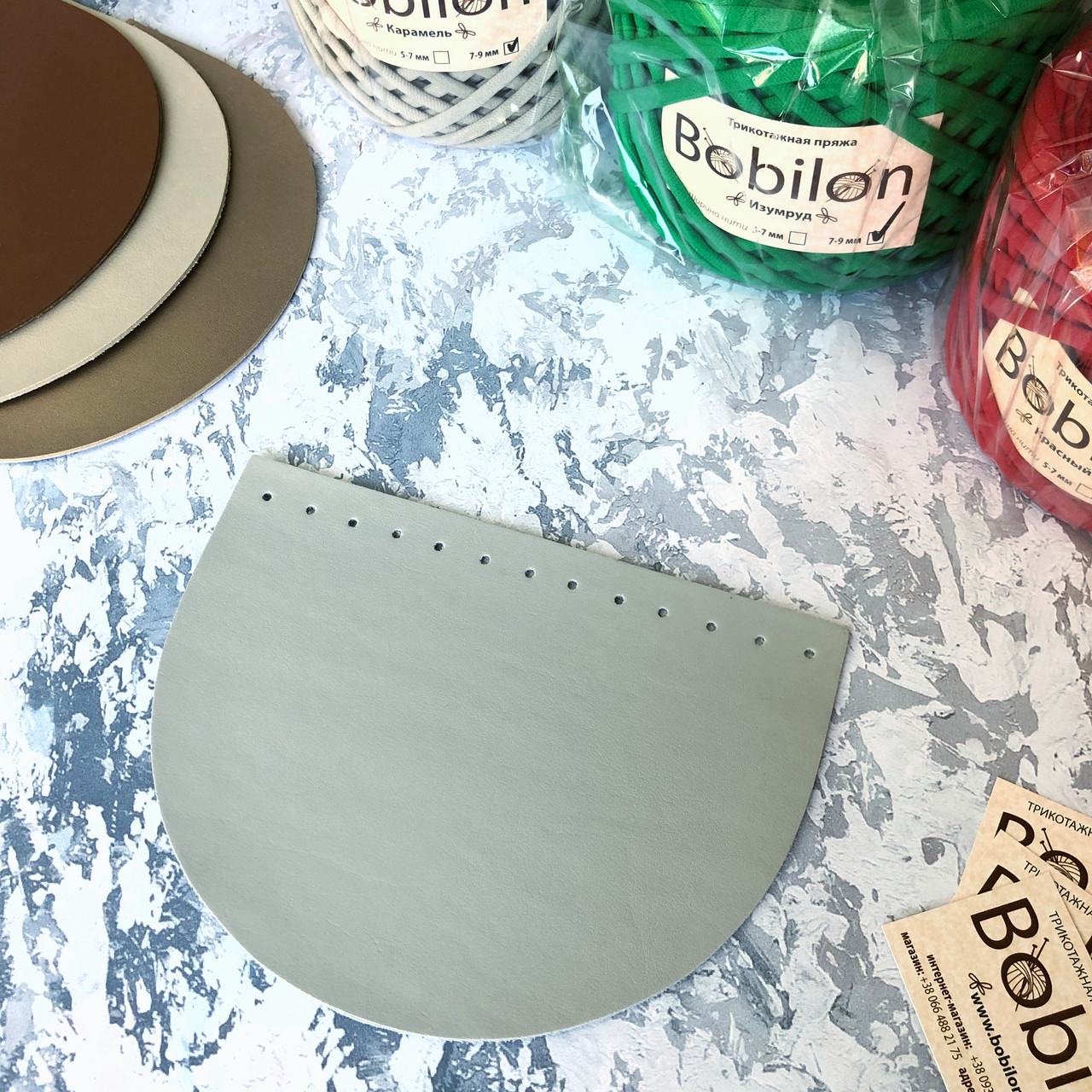 Крышка для сумки из эко-кожи. Цвет светло-серый