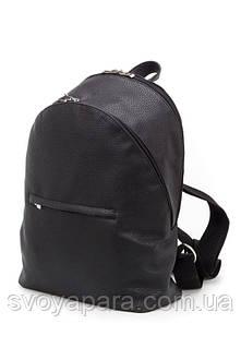 Женский рюкзак из высококачественной экокожи чёрного цвета с двумя отделениями и двумя наружными карманами