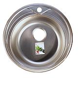 Круглая кухонная мойка Fabiano Ф51 нержавеющая сталь, микродекор, фото 1