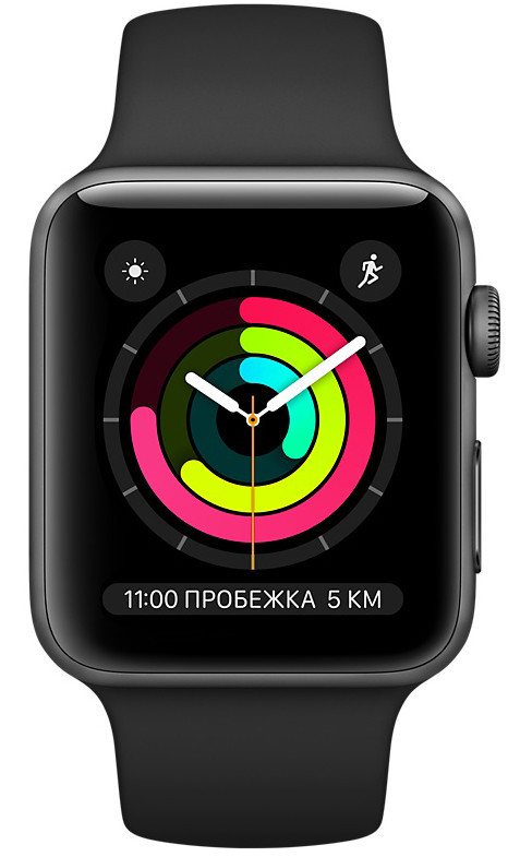 Apple Watch Series 3 38mm Space Gray Aluminium Case with Black Sport Band (MQKV2)