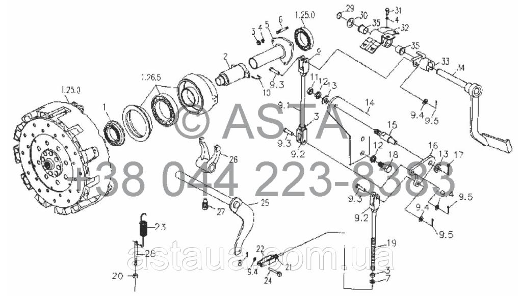 Главный рычаг управления сцеплением на YTO-X754