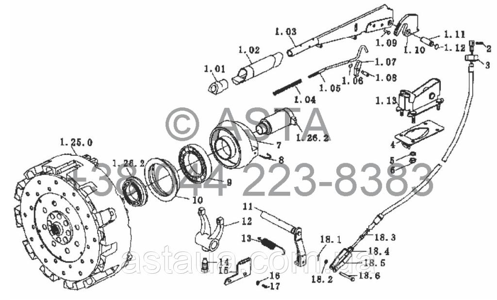 Вал відбору потужності привода зчеплення на YTO-X754