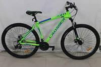 Горный алюминиевый велосипед 29 дюймов Crosser Hunter. Дисковые тормоза. Рама 21. Салатовый