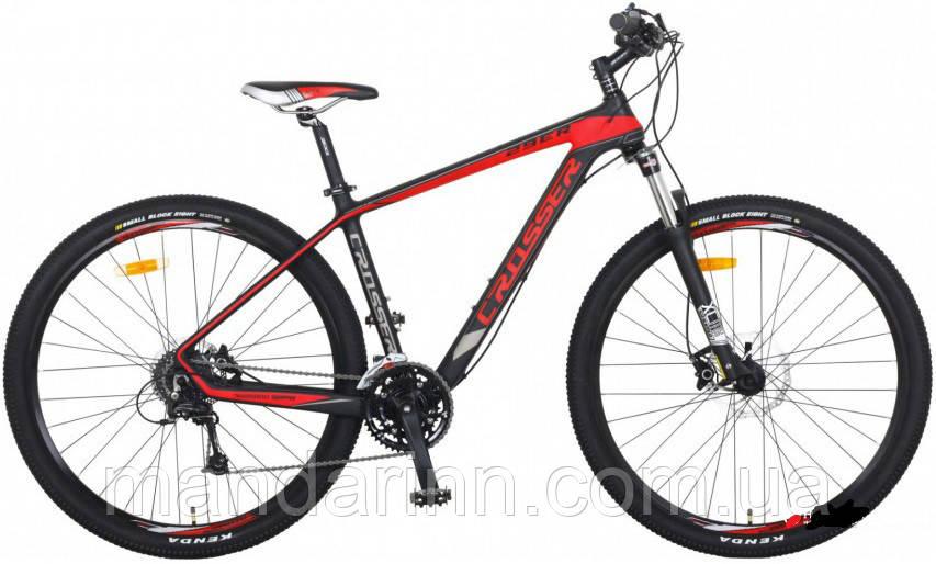 Гірський алюмінієвий велосипед 29 дюймів Crosser Hunter. Дискові гальма. Рама 21. Чорний