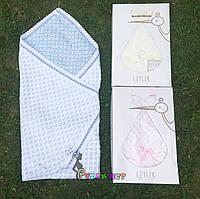 Конверт-плед для новорожденных Премиум на выписку и в коляску легкий Leylek голубой, фото 1