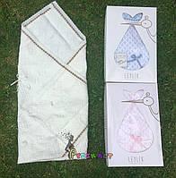 Конверт-плед для новорожденных Премиум на выписку и в коляску легкий Leylek молочный