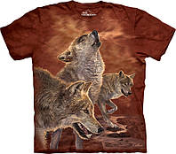 3D футболка The Mountain -  Red Glow Wolves