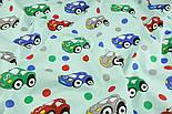 """Ткань хлопковая """"Машинки и горошек"""" на мятном (№1401), фото 4"""