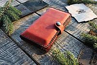 Женский кошелек, портмоне, бумажник, клатч, красный цвет, ручная работа, натуральная кожа премиум качества, фото 1