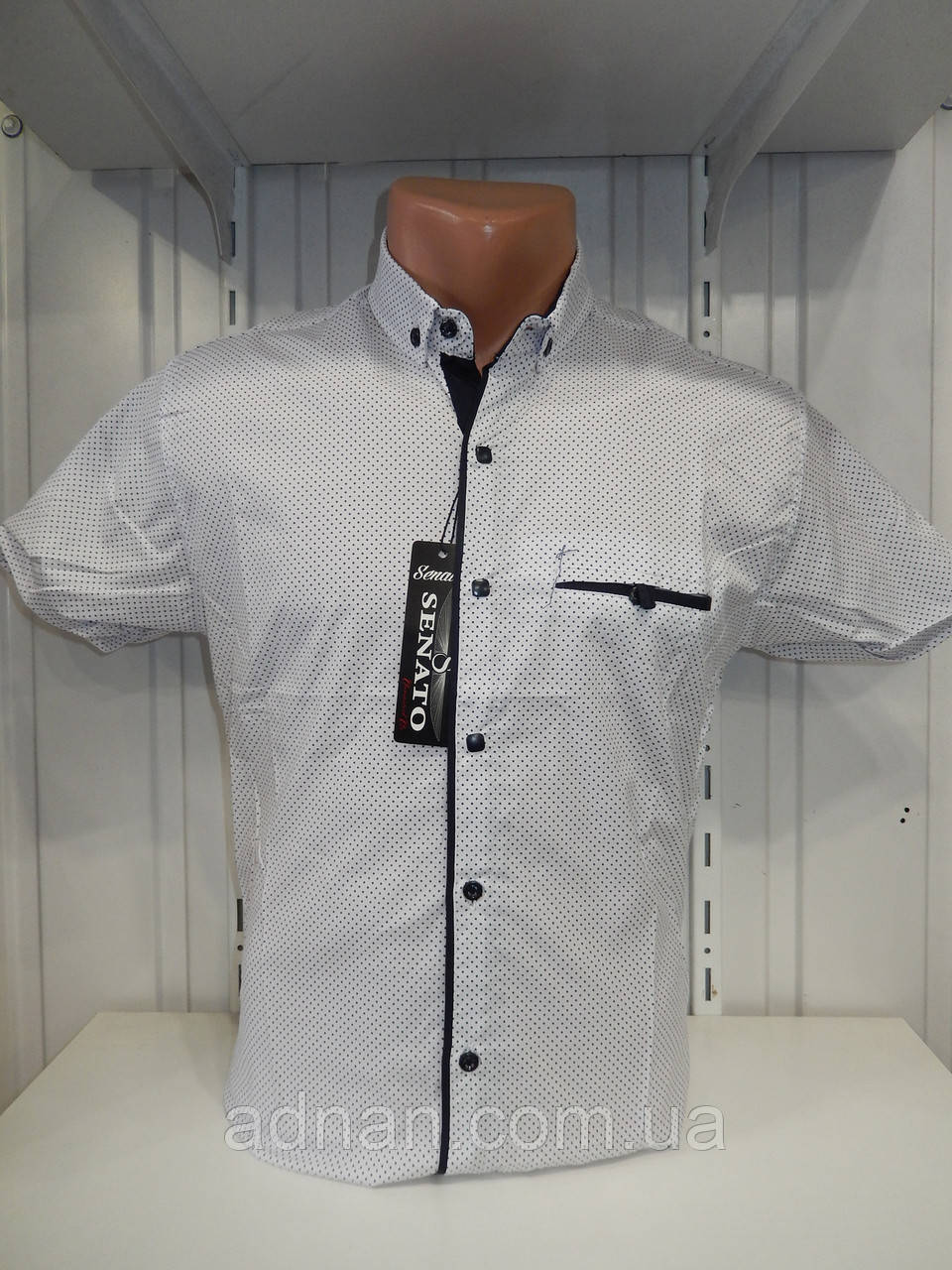 Рубашка мужская SENATO короткий рукав, узор, стрейч котон 18.06 007 \ купить рубашку оптом.