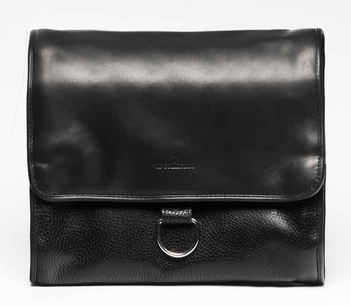 Стильный кожаный несессер Vip Collection УКРАИНА 1428A  flat, Черный