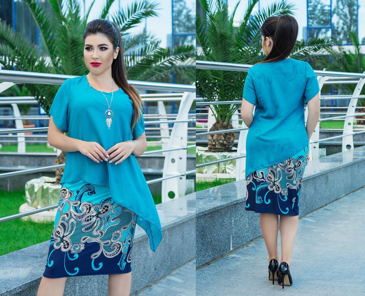 Нарядное платье больших размеров 50+с пришивной шифоновой накидкой асимметричного кроя /2 цвета  арт 5857-178