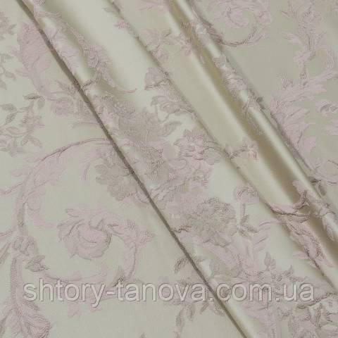 Портьєра, квітковий вензель, , рожевий