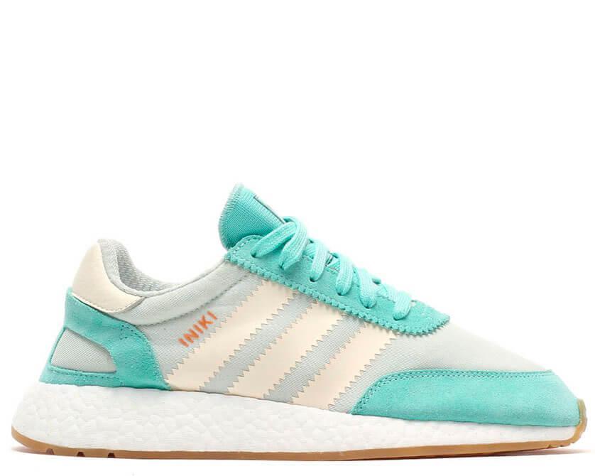 Жіночі кросівки Adidas Iniki Runner білі з зеленим