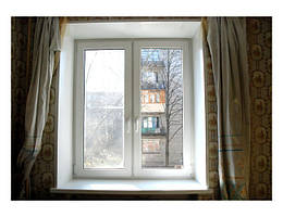 Пластиковое окно двустворчатое Rehau Brillant