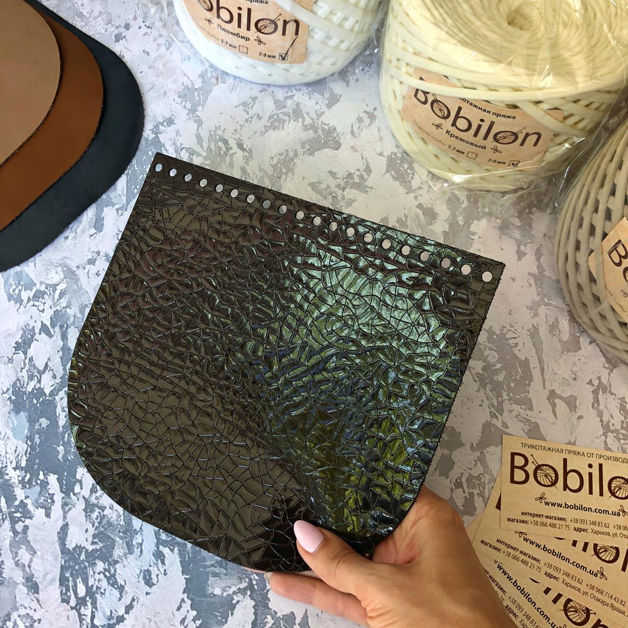 Крышка для сумки кожаная. Цвет — Шоколад, лакированная поверхность. Сумочная фурнитура в ассортименте