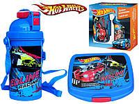 """Набор """"Hot Wheels - Хот вилс"""" в коробке. Бутылка с трубочкой и Ланч бокс (ланчбокс)"""