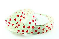 Лента декор салатовая с сердечками 2,5см*25м