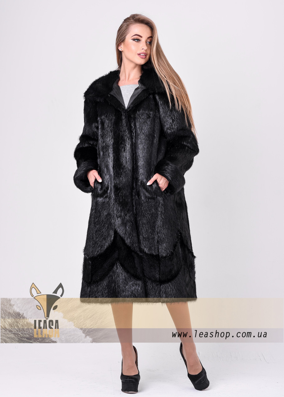 Женская шуба с меховой вышивкой LEAshop   Размеры 40-64  