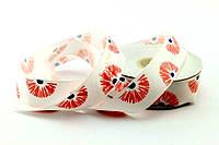 Лента декор белая с розовыми цветами 2,5см*25м
