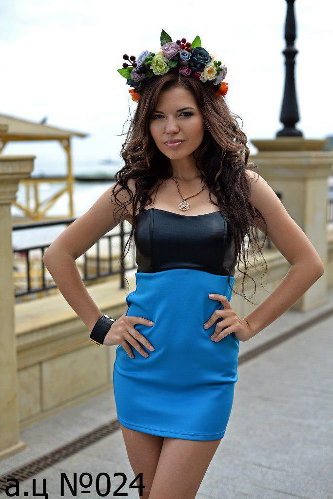 Платье мини,Ткань:дайвинг +эко кожа Размеры:С.М, код 5678Ц