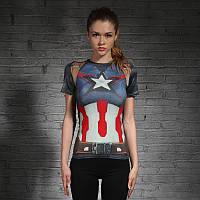 Жіноча футболка для фітнесу Капітан Америка, фото 1