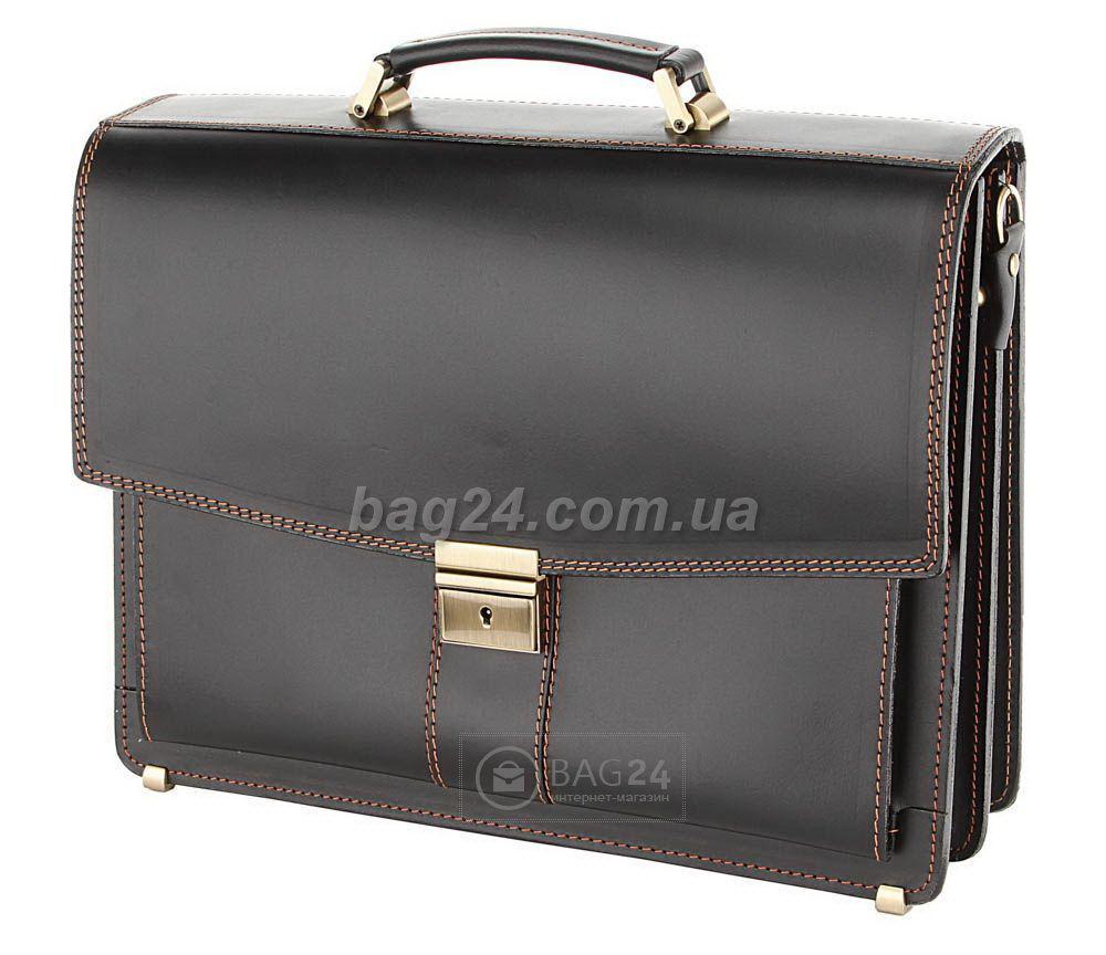 Добротный кожаный мужской портфель европейского качества, Черный