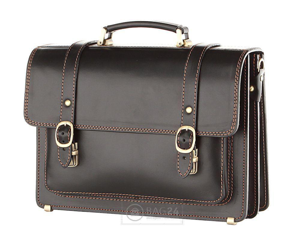 Шикарный кожаный портфель Handmade, Черный