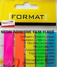 Бумага клейкая закладки12х45мм 100л 5 цвет.пл. Format F27945 неон