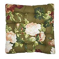 Подушка на стул Кедр на Ливане квадратная стеганная Classic light серия Best 37x37x5 см Зеленая (1052)