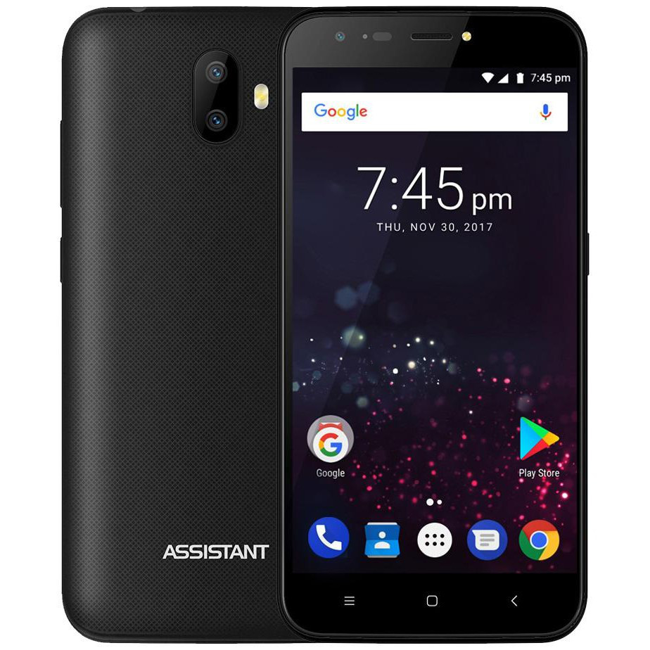 "Смартфон Assistant AS 502 Shot 1/8Gb Black, 13+0.3/5Мп, 5"" IPS, 2500mAh, 2sim, MT6580, 3G, 4 ядра, 12 мес."