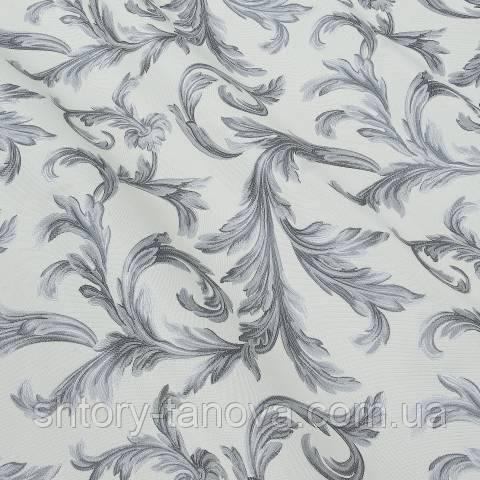 Портьєра, квітковий принт сірий