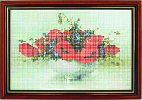 Схема для вышивки бисером «Красные цветы в белой вазе»