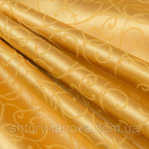 Декоративная ткань для штор, вьюнок жёлто-оранжевый
