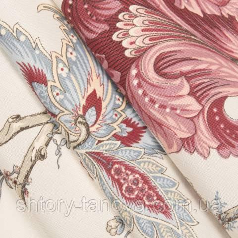 Декоративная ткань для штор, цветочный принт  красный